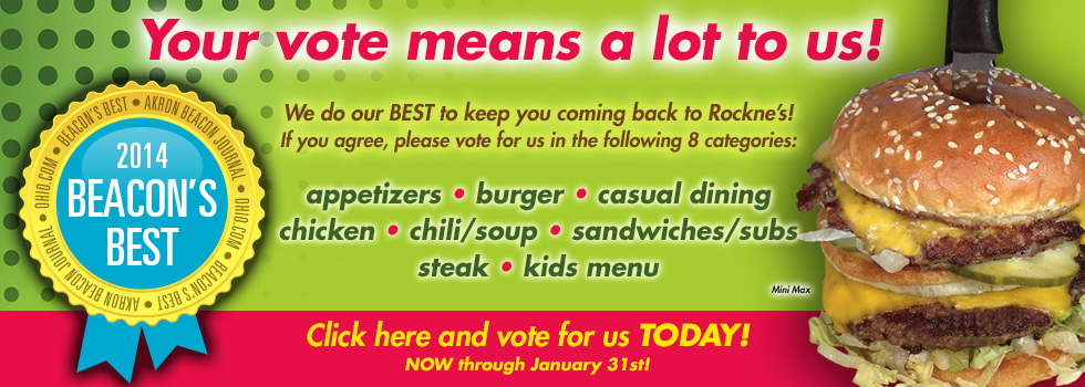 Click Here to Vote for Rockne's for Beacon's Best!